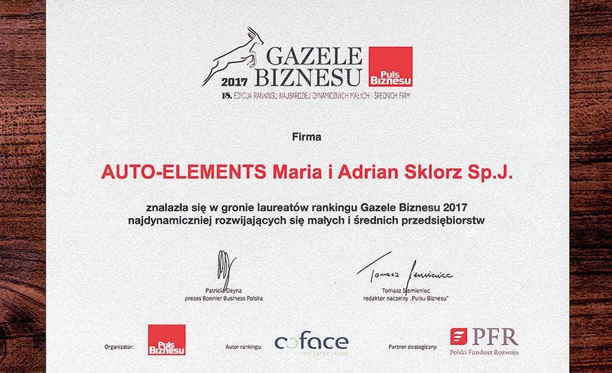 Szósta Gazela Biznesu dla firmy Auto-Elements