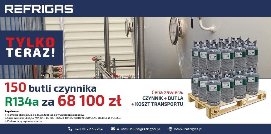 150 butli R134a za 68100 zł. Oferta od Refrigas