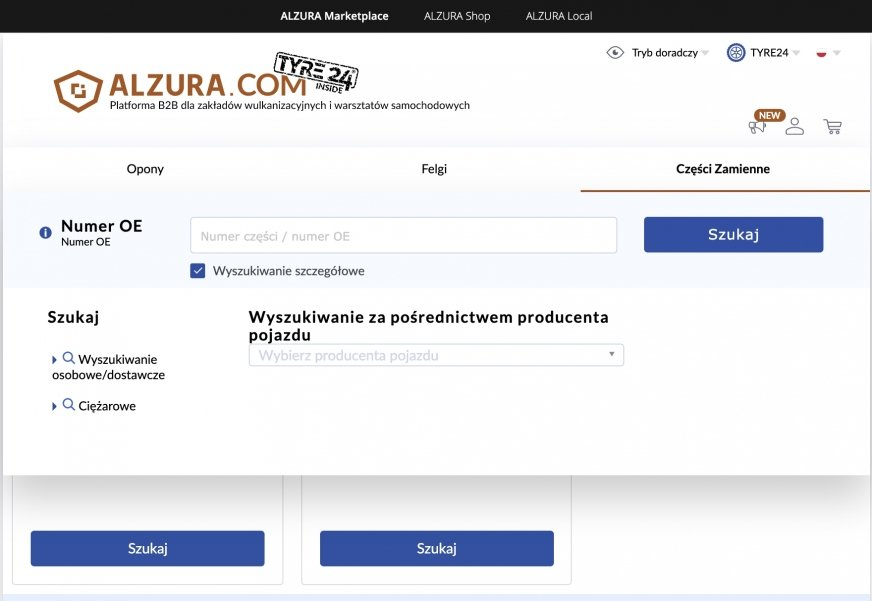 16 milionów części samochodowych dostępnych na ALZURA Tyre24