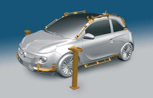 Wfabryce Opla wydrukowane narzędzia montażowe zastąpiły te wykonane wtechnice frezowania odlewów zżywicy syntetycznej.