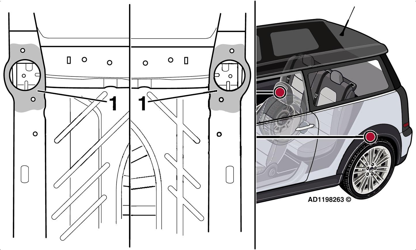 Rys. 2. Odgłos klikania zzawieszenia tylnych kół podczas jazdy po nierównej nawierzchni wMINI Clubman spowodowany jest tym, że górna poduszka amortyzatora ztyłu jest nieprawidłowo umieszczona zpowodu wystających odprysków spawalniczych na podłodze pojazdu
