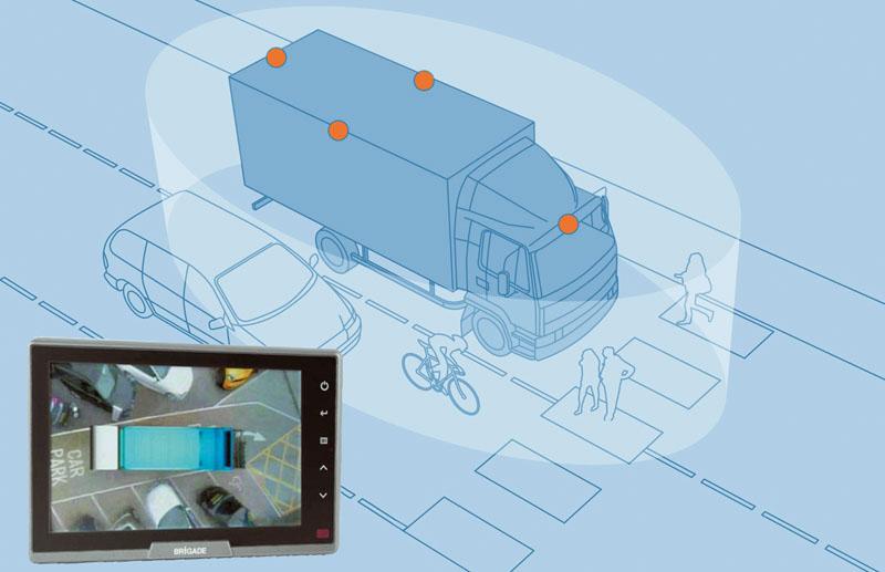 System Brigade Smarteye. Dzięki kamerom zamontowanym z przodu, po bokach i z tyłu pojazdu – kierowca może obserwować jego całe bezpośrednie otoczenie.